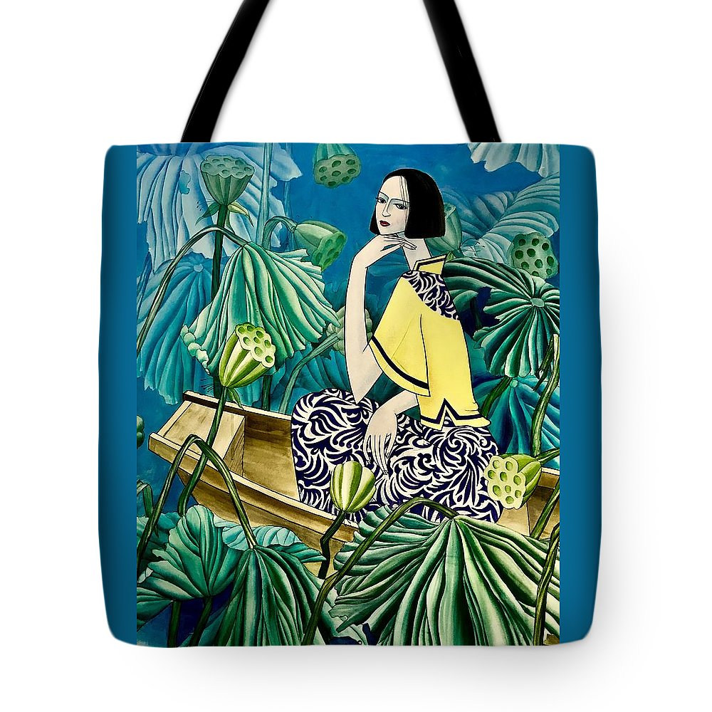 Water Color Tote Bag featuring the painting Among The Withered Lotus by Xueping Zhang