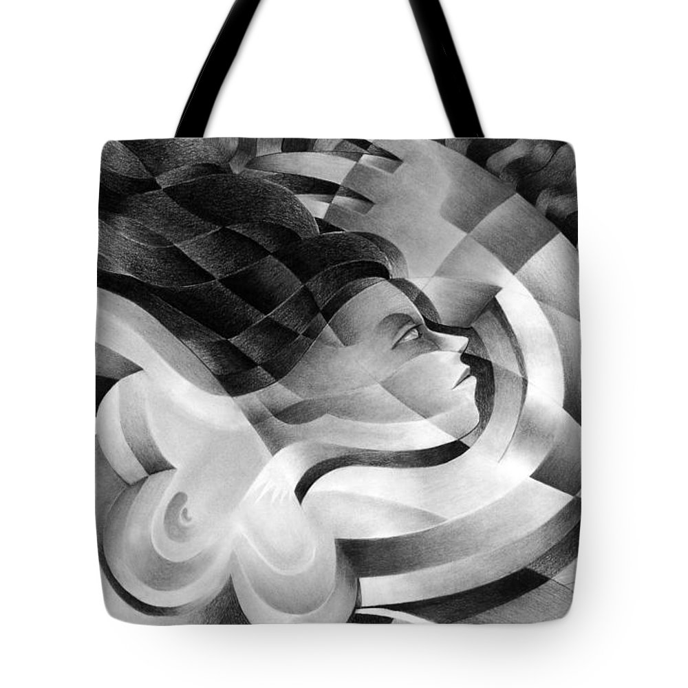 Art Tote Bag featuring the drawing Amore by Myron Belfast