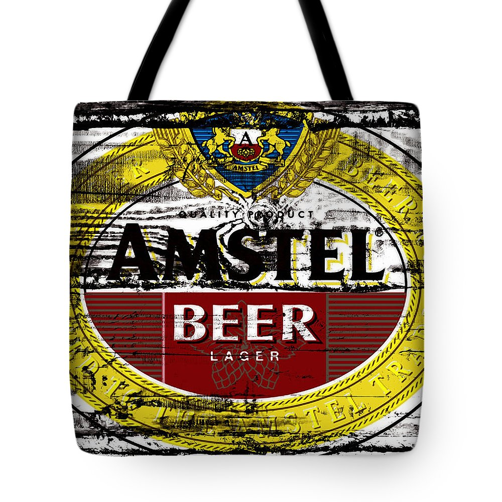 Amstel Tote Bag featuring the mixed media Amstel Beer Sign by Brian Reaves