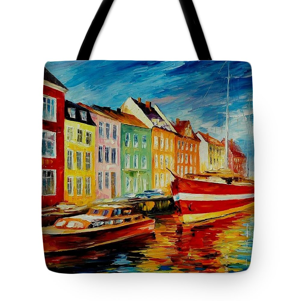 Afremov Tote Bag featuring the painting Amsterdam - City Dock by Leonid Afremov