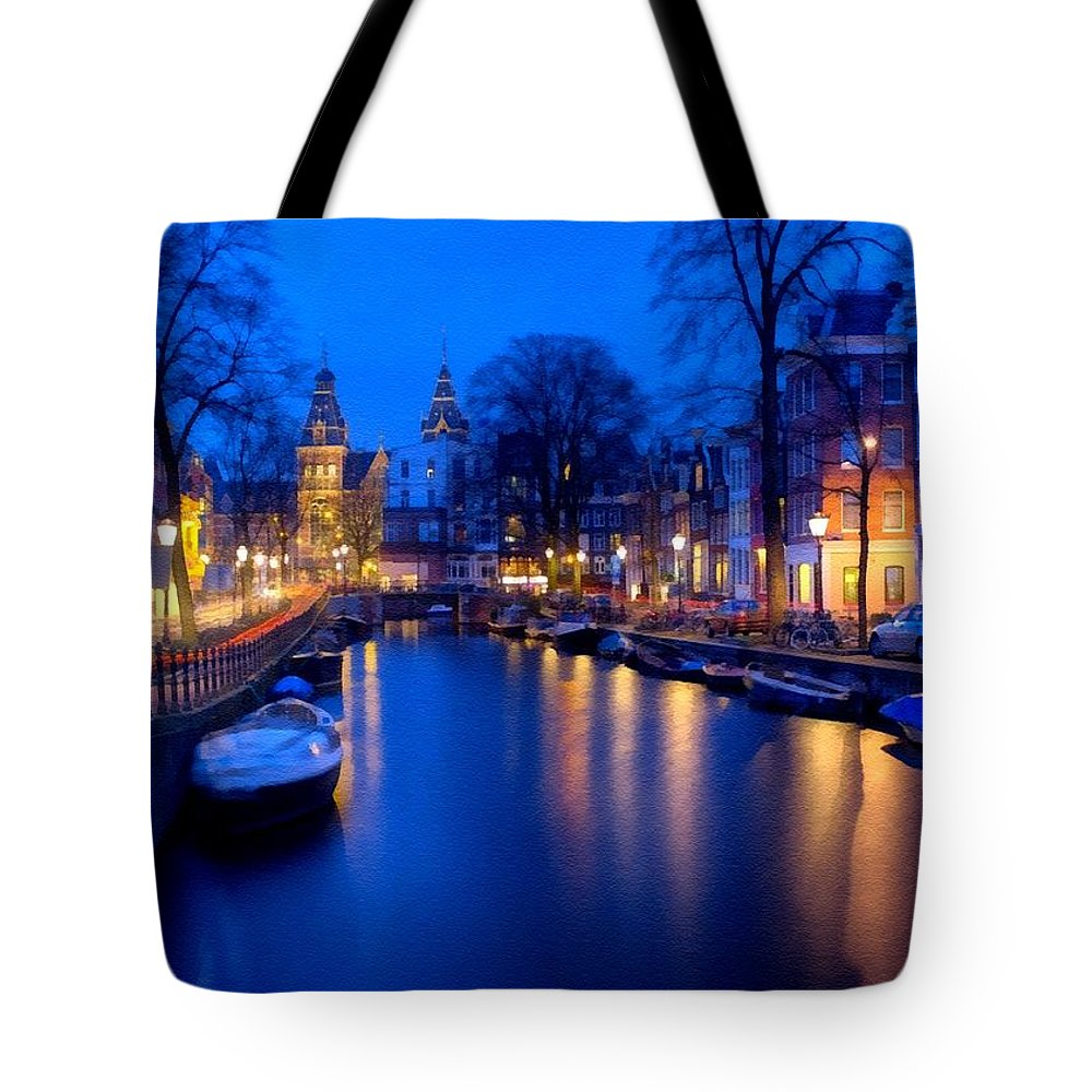 Amsterdam Tote Bag featuring the digital art Amsterdam - A Canal Scene At Night . L B by Gert J Rheeders