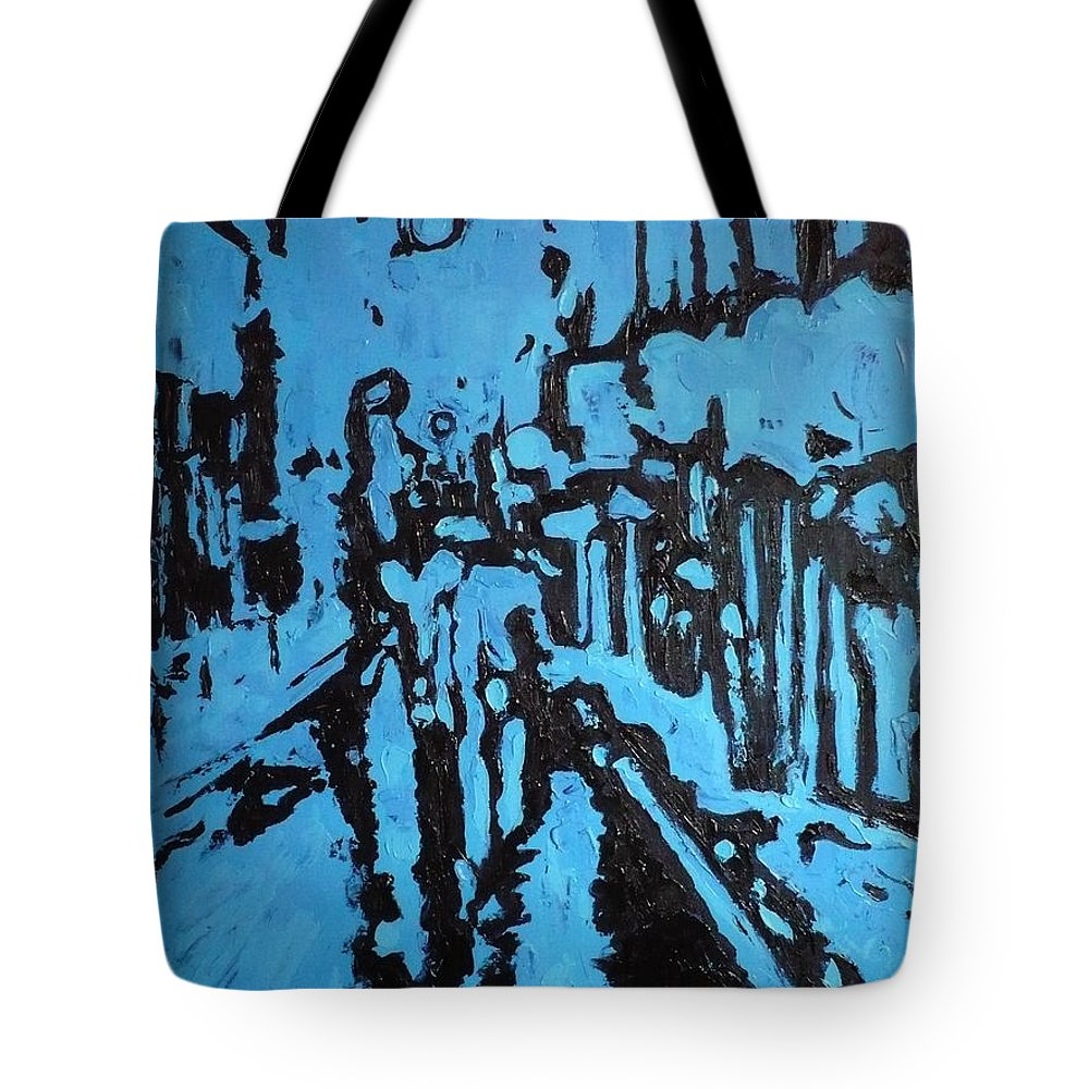 Street Tote Bag featuring the painting Amsterdam At Night by Ericka Herazo