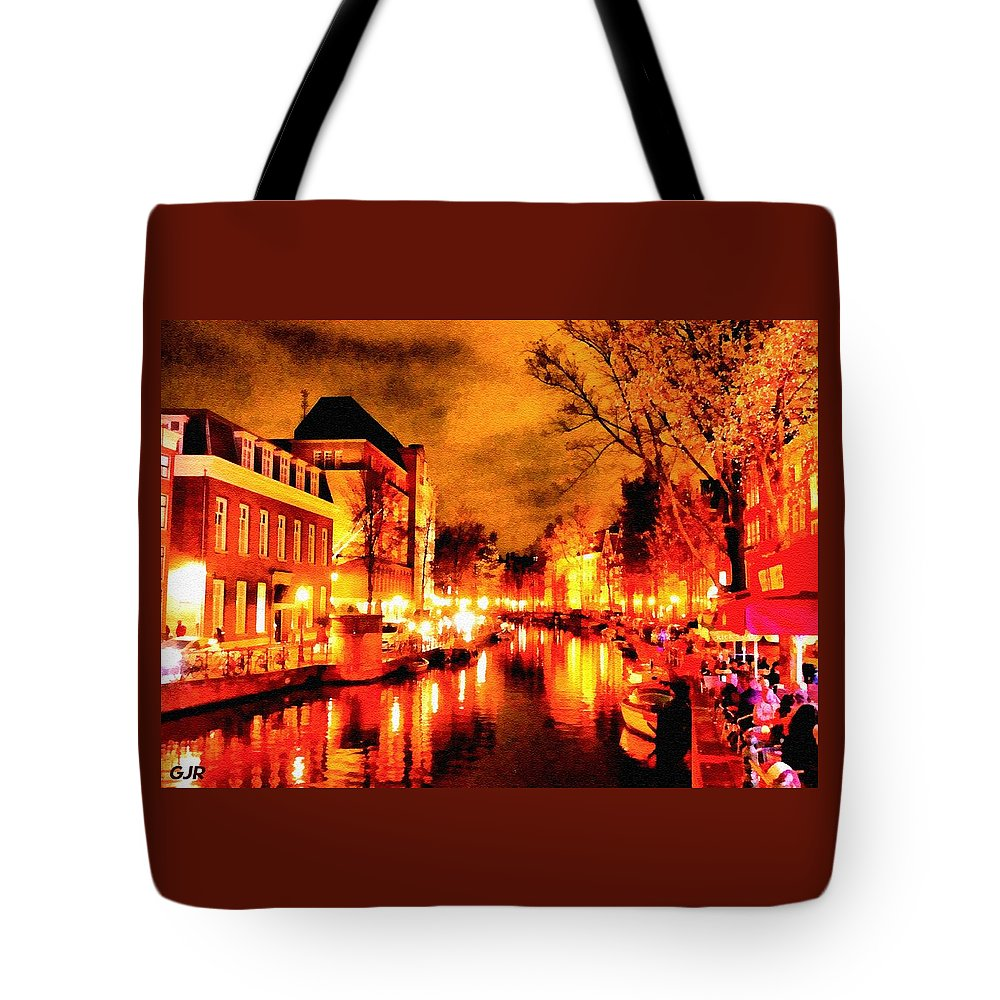 Amsterdam Tote Bag featuring the digital art Amsterdam Night Life L A S by Gert J Rheeders