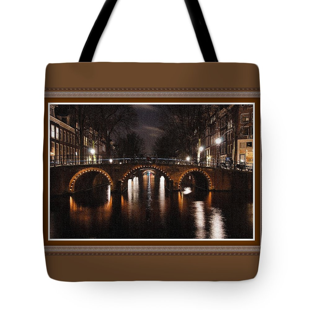 Amsterdam Tote Bag featuring the painting Amsterdam - Night Life L B With Decorative Ornate Printed Frame. by Gert J Rheeders