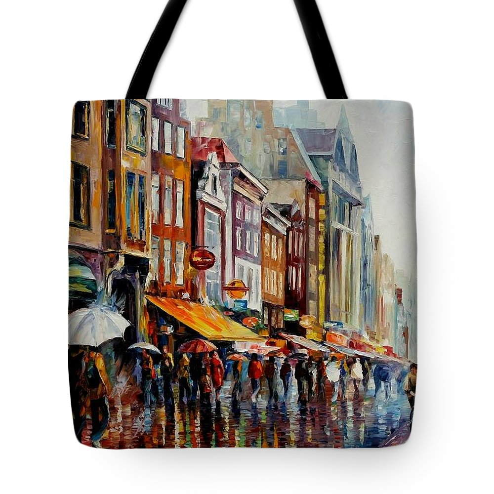 Afremov Tote Bag featuring the painting Amsterdam's Rain by Leonid Afremov