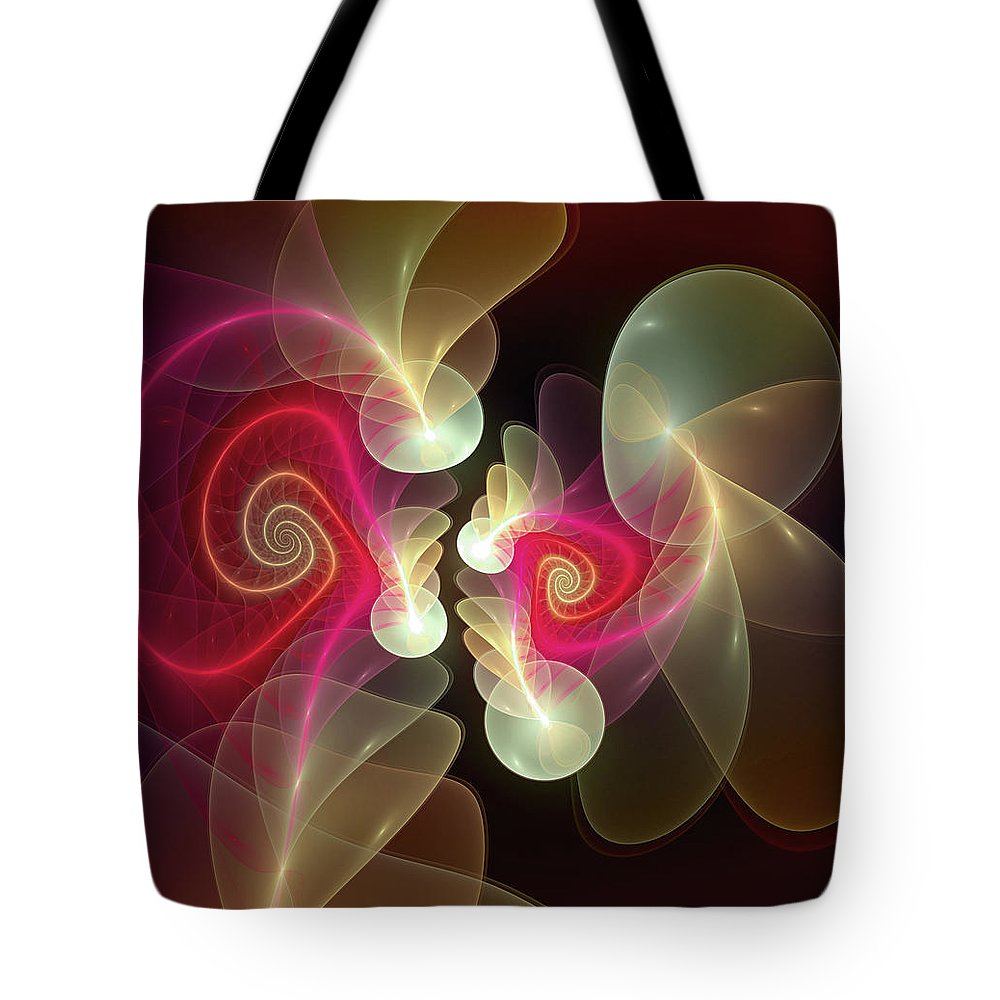 Abstract Tote Bag featuring the digital art Amusement by Casey Kotas