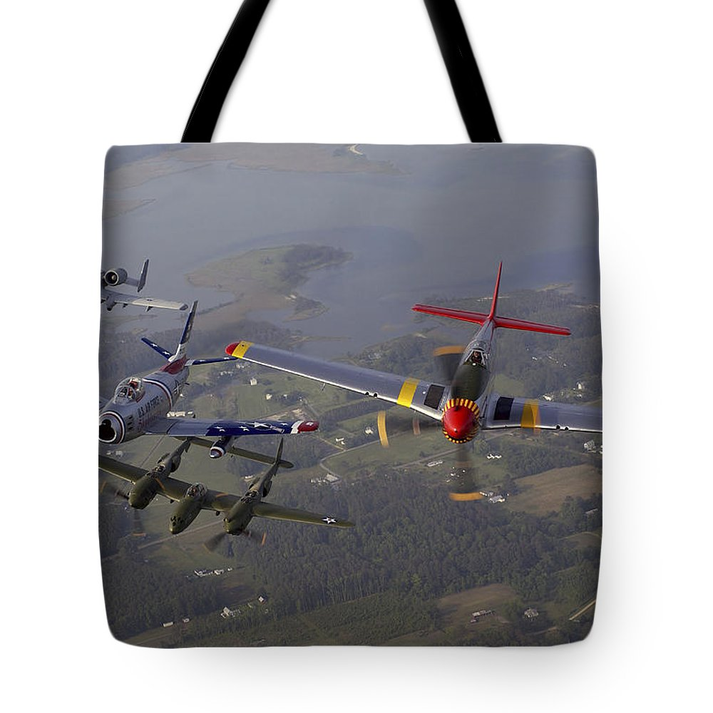 Horizontal Tote Bag featuring the photograph An A-10 Thunderbolt, F-86 Sabre, P-38 by Stocktrek Images