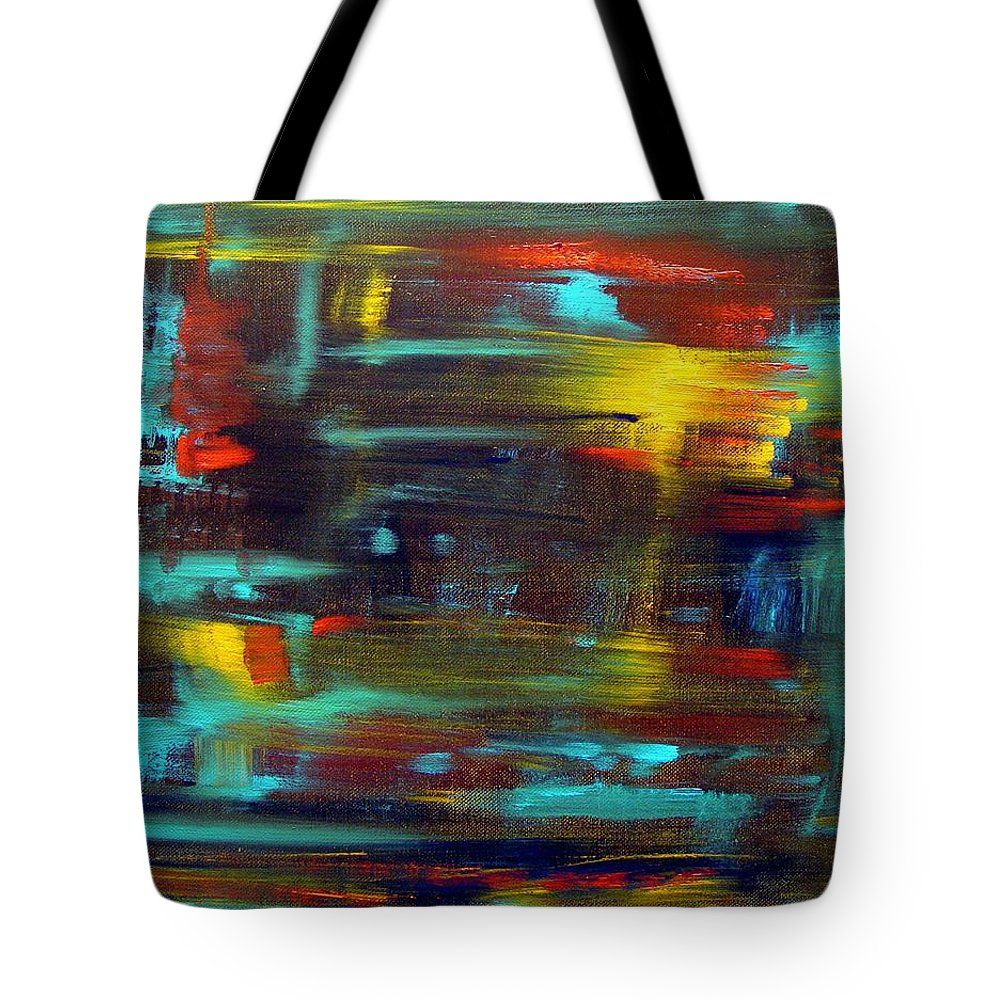 Red Blue Yellow Gold Brown Cad Orange Eyes Obama Oscar  Face Thought Emotions Tote Bag featuring the painting An Abstract Thought by Jack Diamond