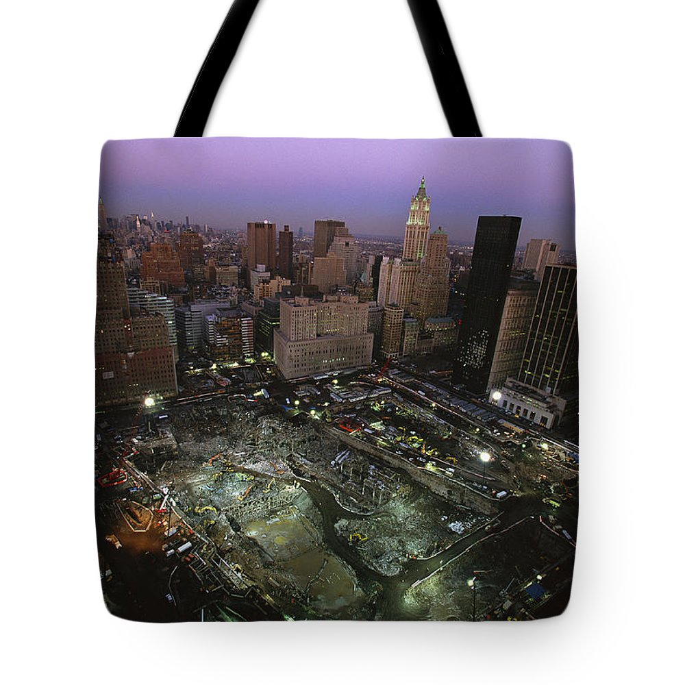 Disasters Tote Bag featuring the photograph An Aerial View Of Ground Zero by Ira Block