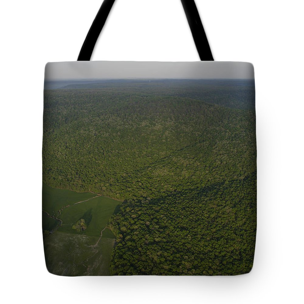 Cumberland Plateau Tote Bag featuring the photograph An Aerial View Shows The Cumberland by Stephen Alvarez