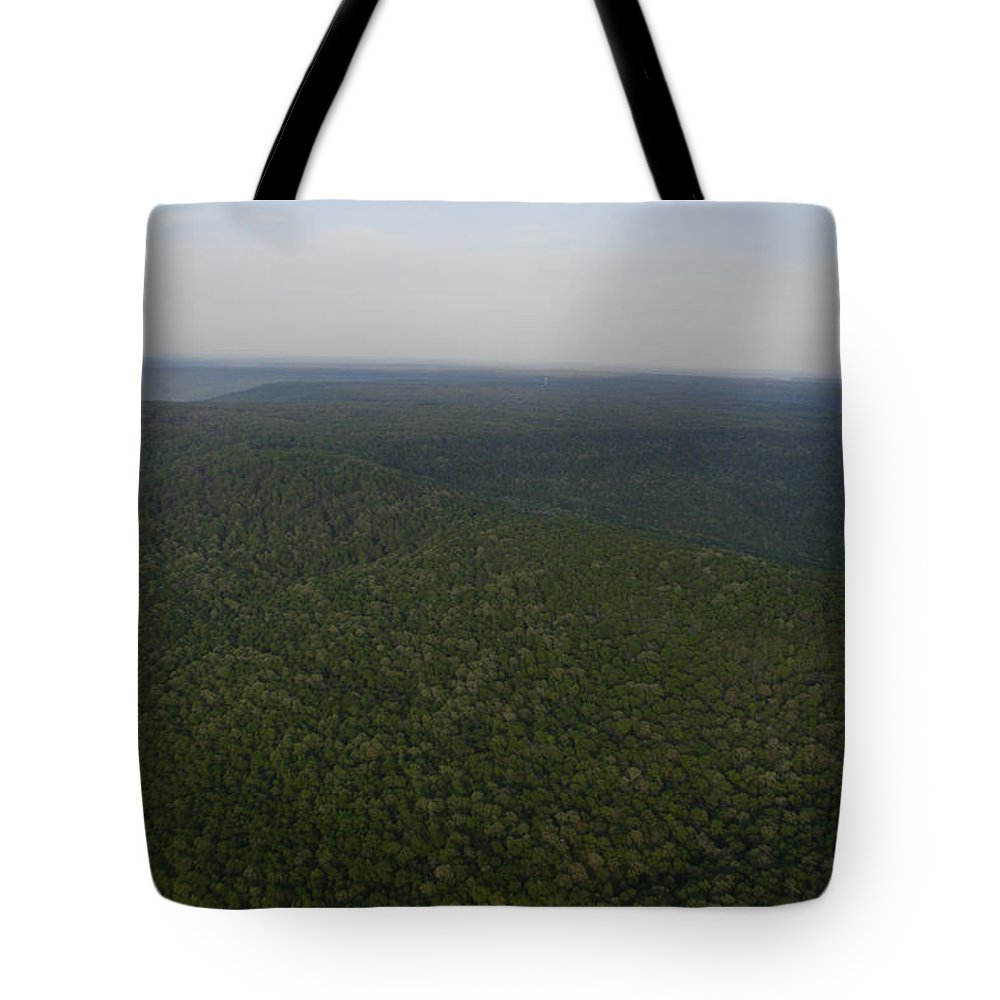 Cumberland Plateau Tote Bag featuring the photograph An Aerial View Shows The Forests by Stephen Alvarez
