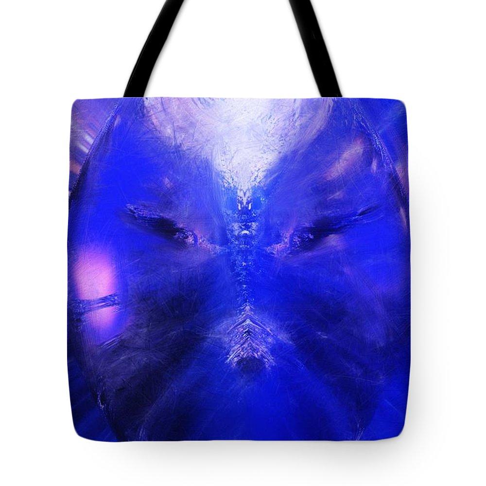 Digital Painting Tote Bag featuring the digital art An Alien Visage by David Lane