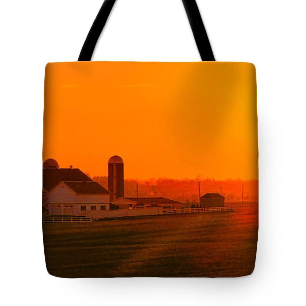 Sunset Tote Bag featuring the photograph An Amish Sunset by Olivier Le Queinec