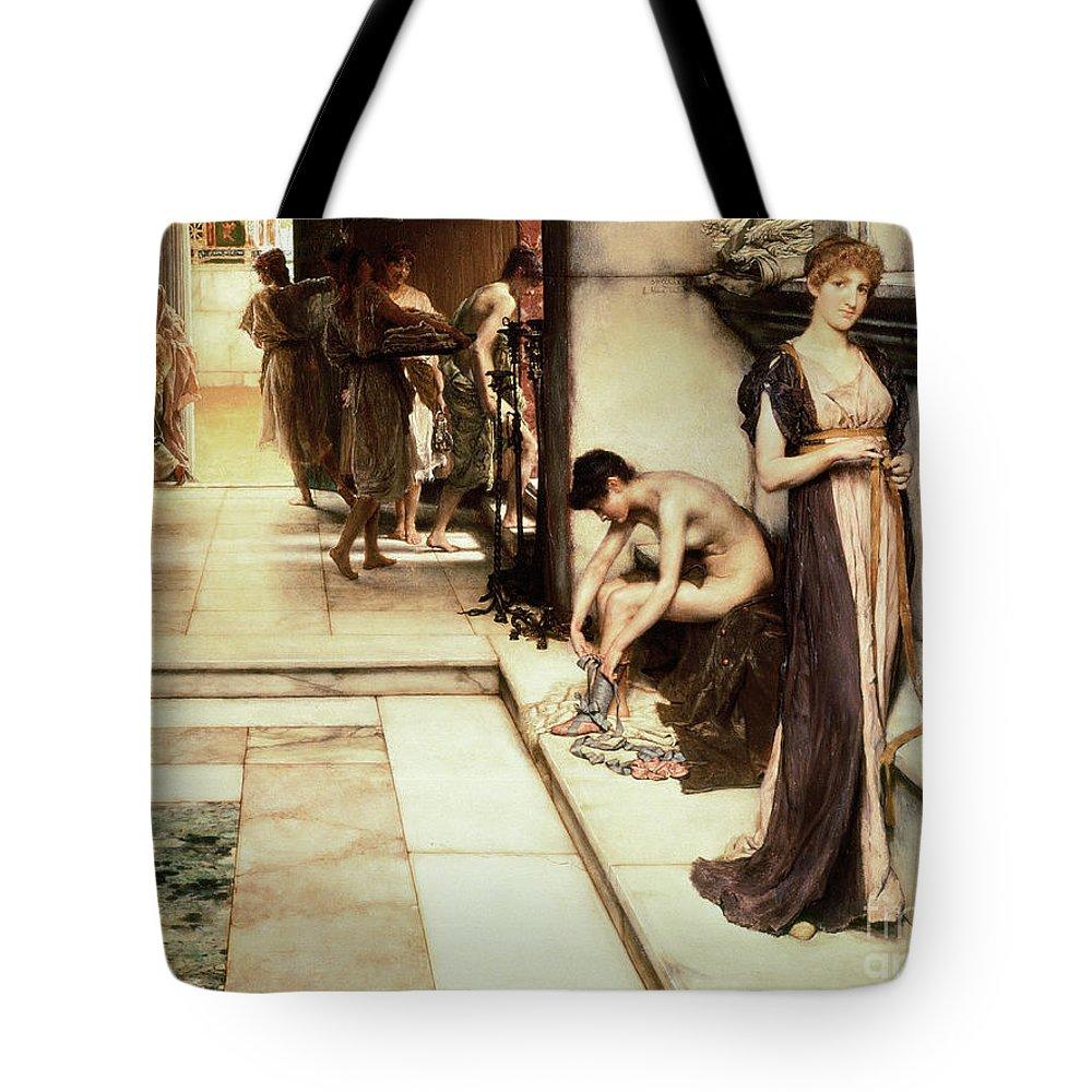 Roman Bath Paintings Tote Bags