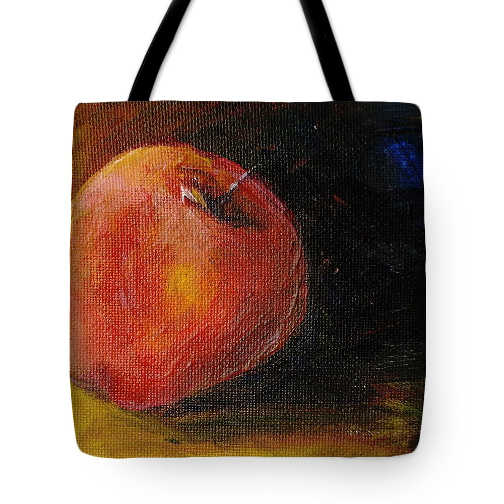 Apple Tote Bag featuring the painting An Apple - A Solitude by Jun Jamosmos