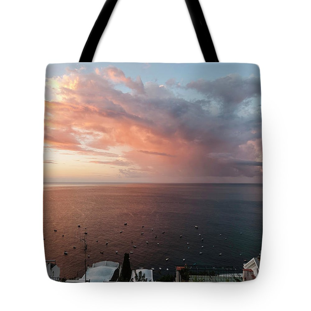 Amalfi Coast Tote Bag featuring the photograph An Early Morning View From A Balcony In Positano, Campania, Ital by Lionel Everett