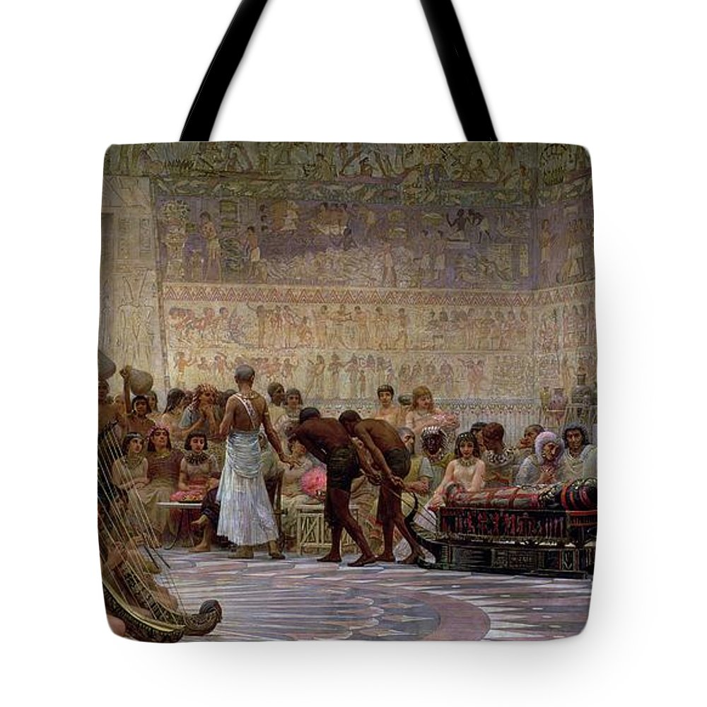 Egyptian Tote Bag featuring the painting An Egyptian Feast by Edwin Longsden Long