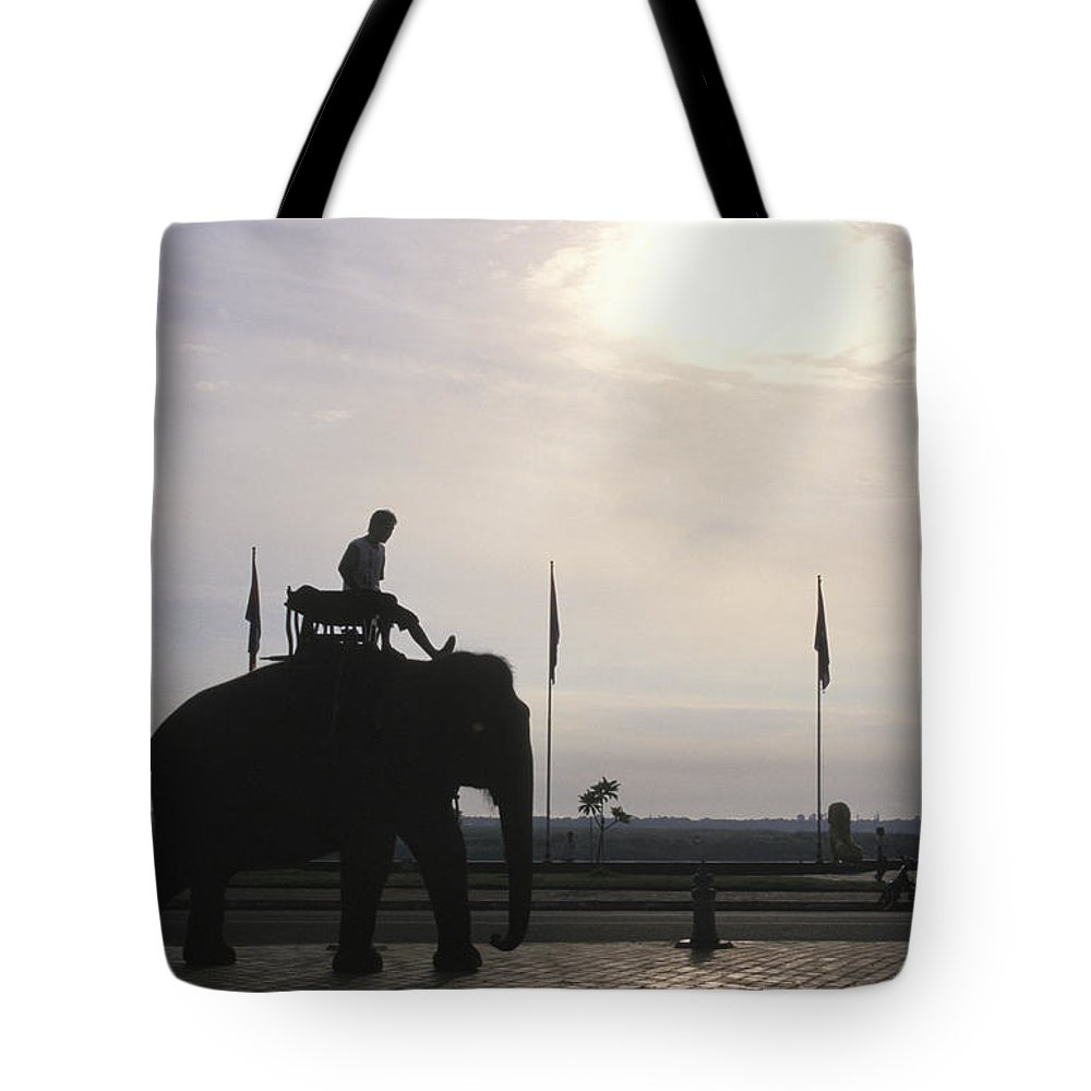 Royal Palace Tote Bag featuring the photograph An Elephant At The Royal Palace by Richard Nowitz