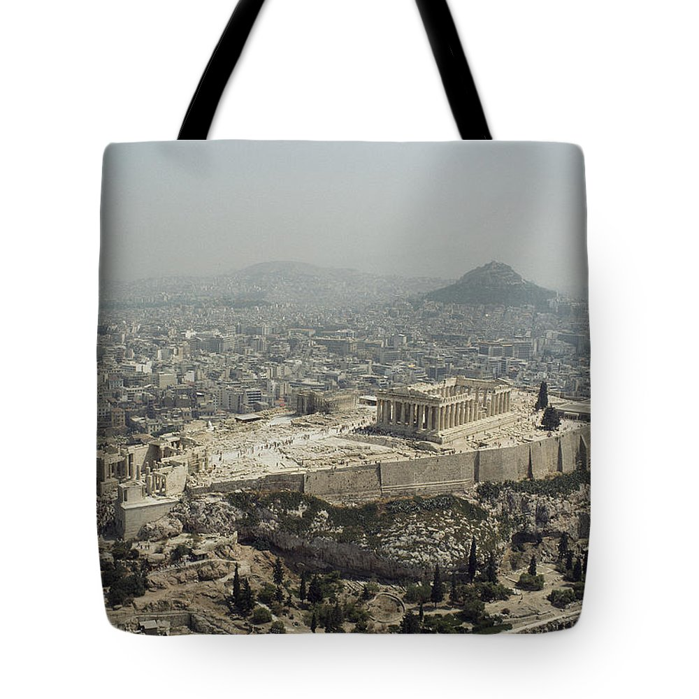 Architecture And Art Tote Bag featuring the photograph An Elevated View Of The Parthenon by James P. Blair