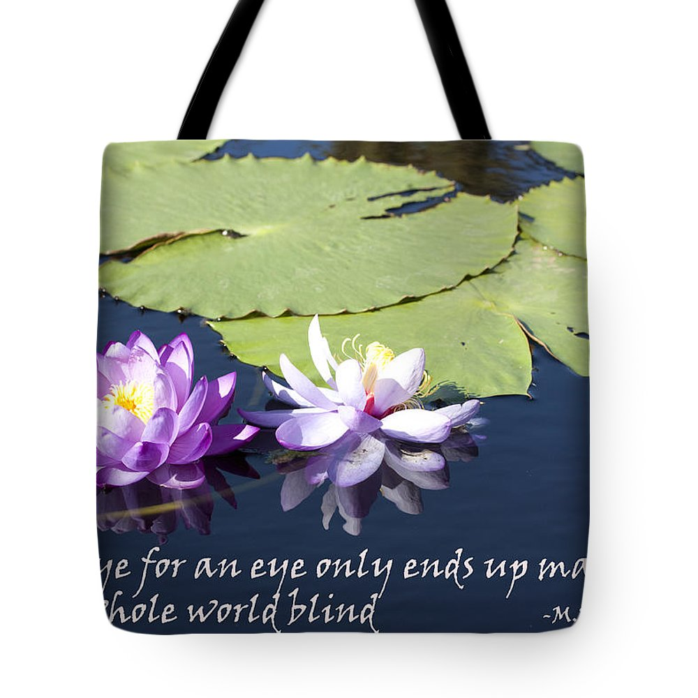 Waterlily Tote Bag featuring the photograph An Eye For An Eye by Mary Haber