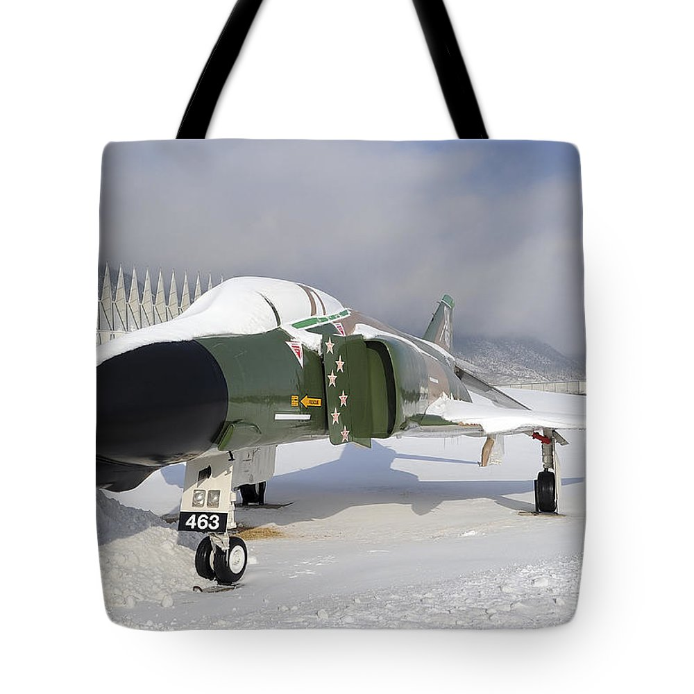 F-4 Phantom Tote Bag featuring the photograph An F-4d Phantom II Aircraft Static by Stocktrek Images