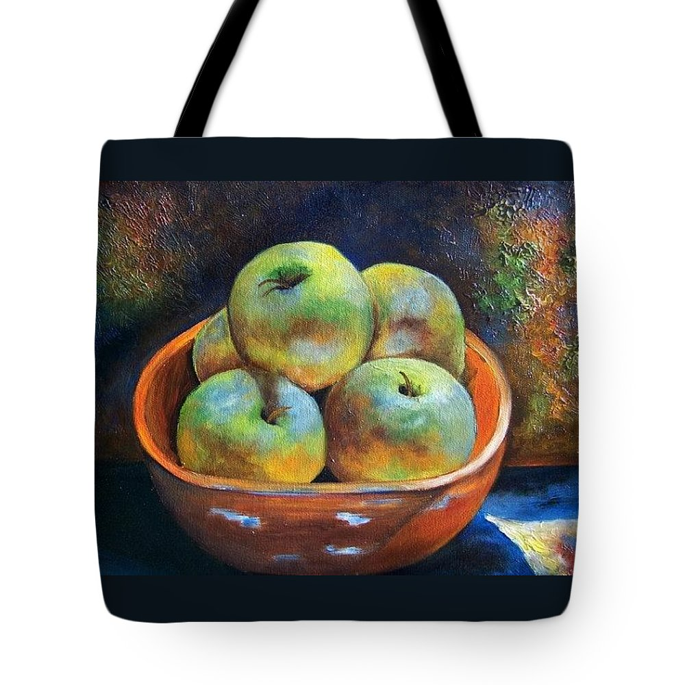 Still Life Tote Bag featuring the painting An Impression Of Apples by Susan Dehlinger