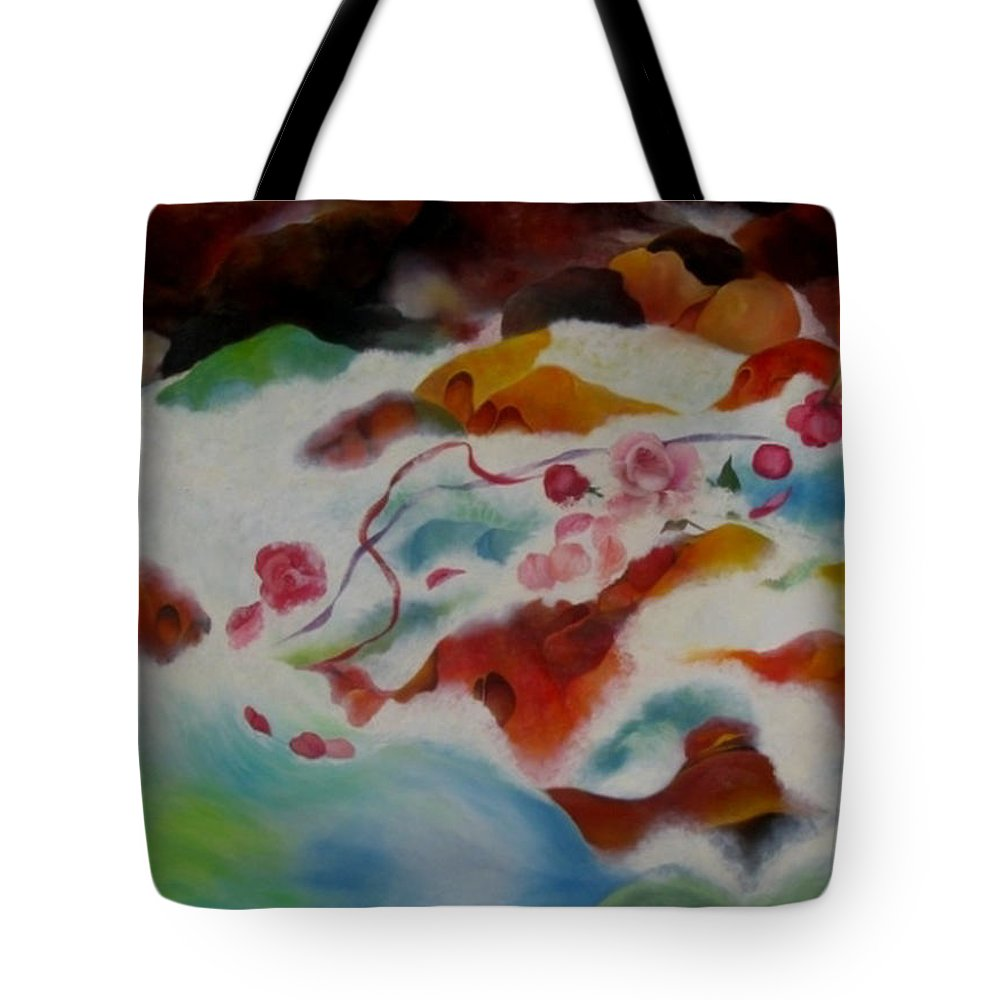 Abstract Tote Bag featuring the painting An Offering by Peggy Guichu