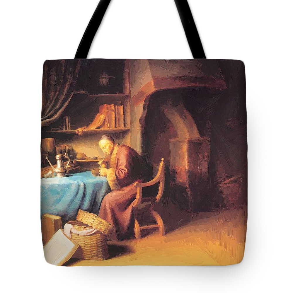 An Tote Bag featuring the painting An Old Man Lighting His Pipe In A Study by Dou Gerrit