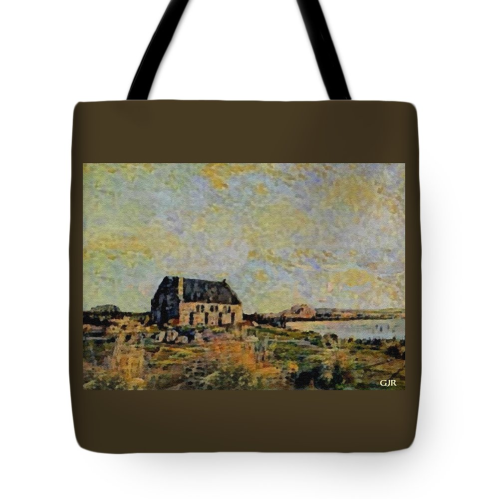 Amsterdam Tote Bag featuring the digital art An Old Scottish Cottage Overlooking A Loch L A S by Gert J Rheeders