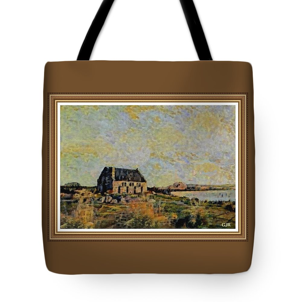 Amsterdam Tote Bag featuring the digital art An Old Scottish Cottage Overlooking A Loch L A S With Decorative Ornate Printed Frame. by Gert J Rheeders