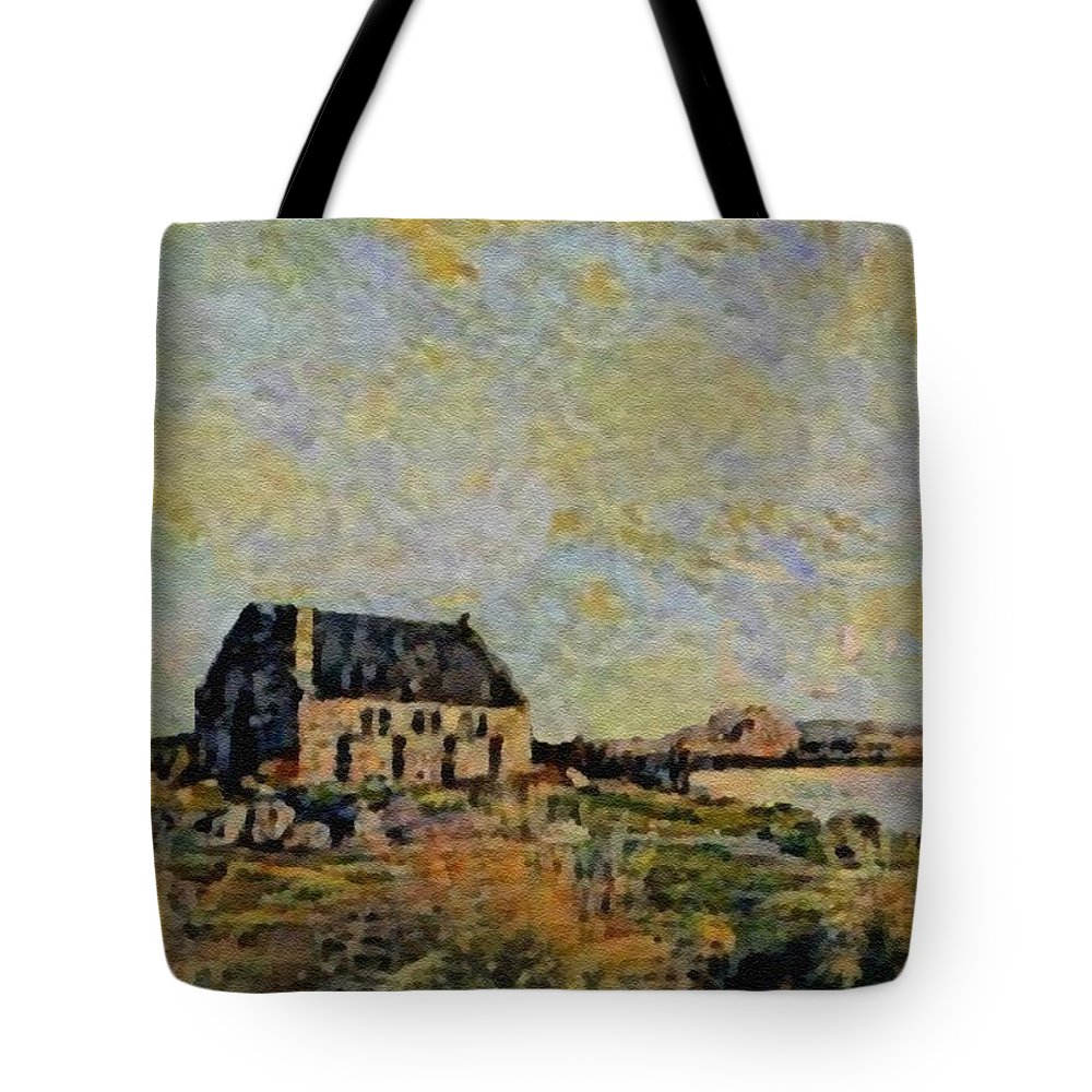Amsterdam Tote Bag featuring the digital art An Old Scottish Cottage Overlooking A Loch L B by Gert J Rheeders