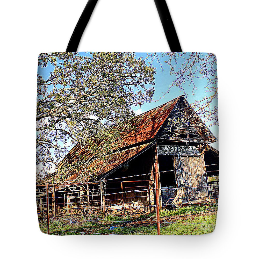 An Old Weathered Barn Poem Tote Bag featuring the photograph An Old Weathered Barn by Kathy White