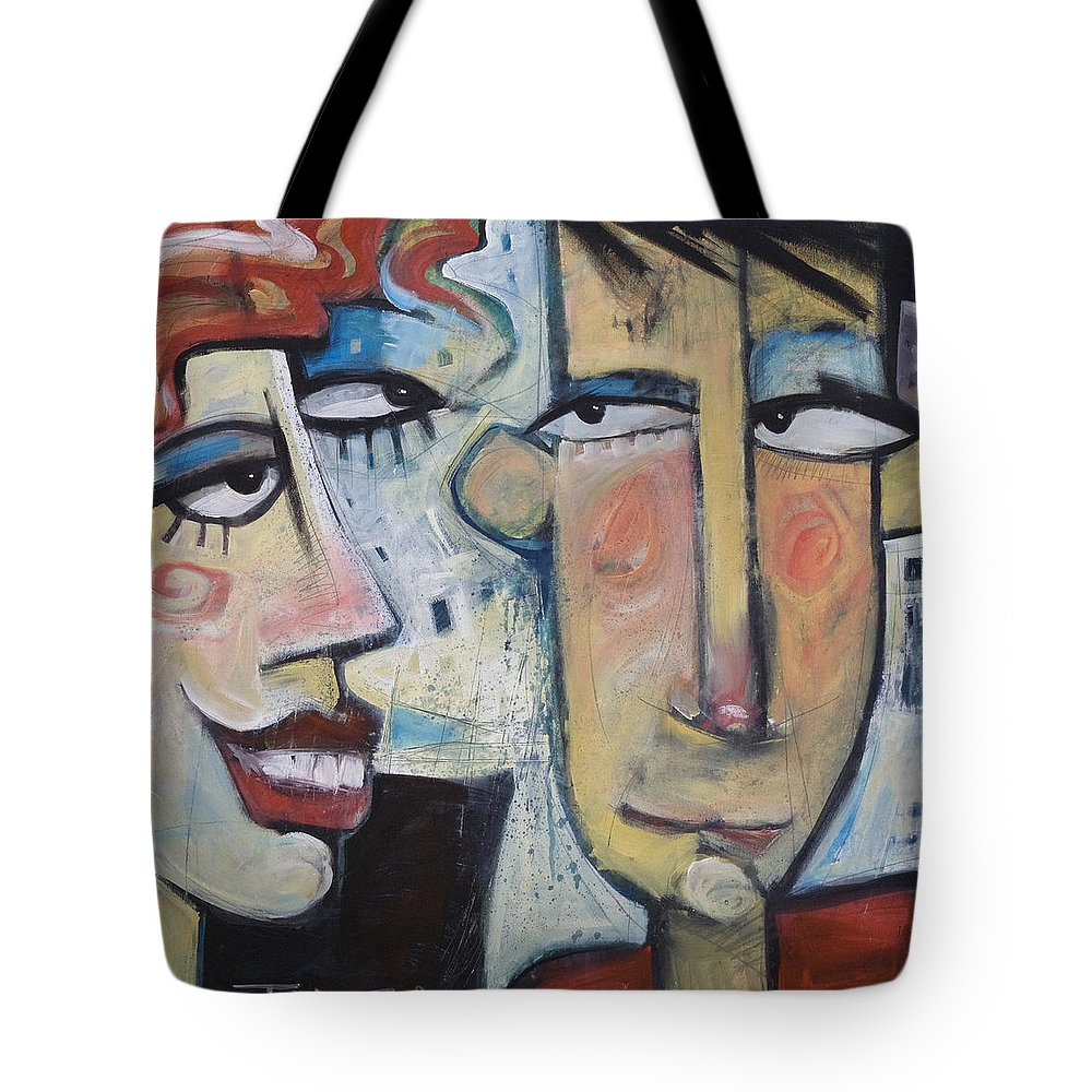 Man Tote Bag featuring the painting An Uncomfortable Attraction by Tim Nyberg