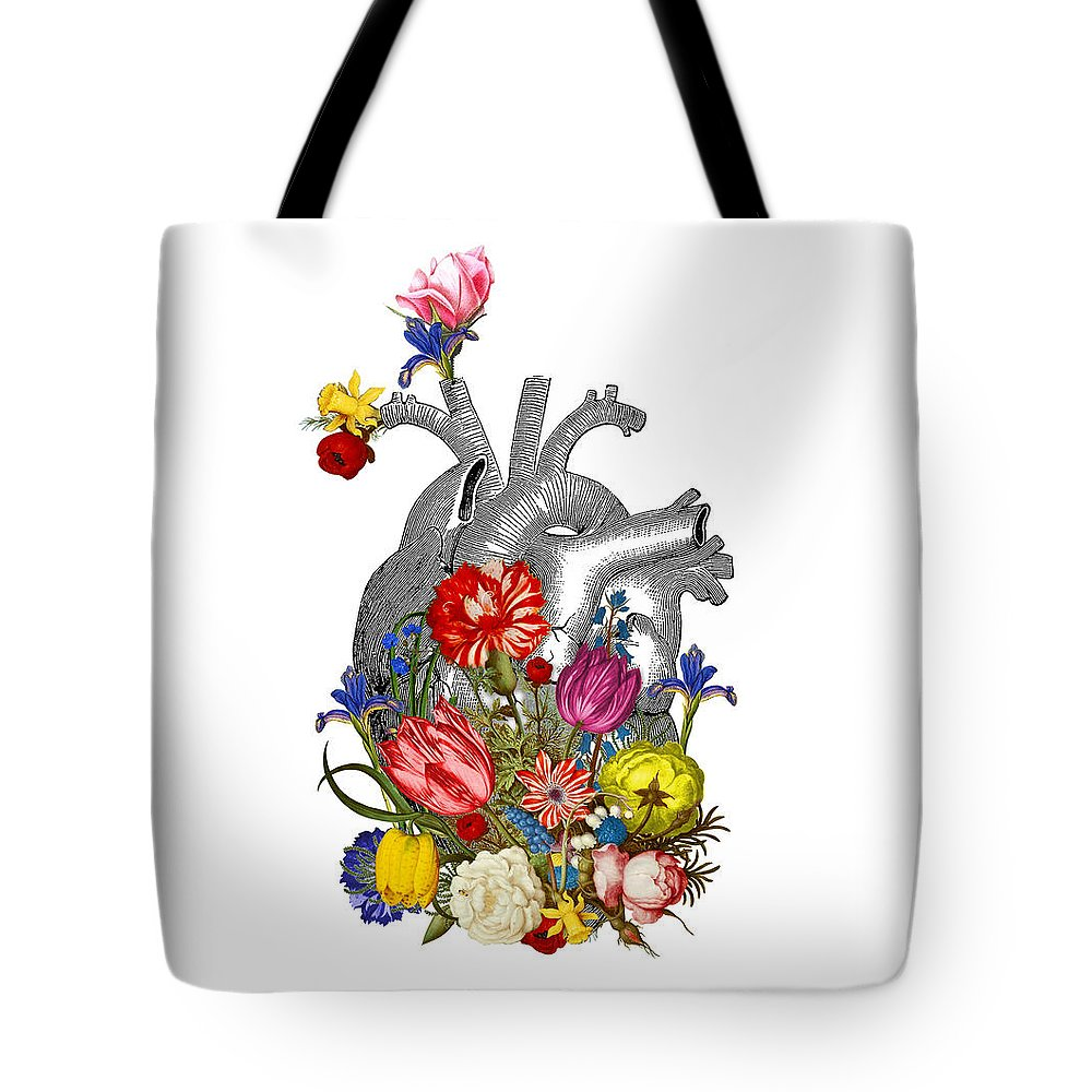 Heart Tote Bag featuring the digital art Anatomical Heart With Colorful Flowers by Madame Memento