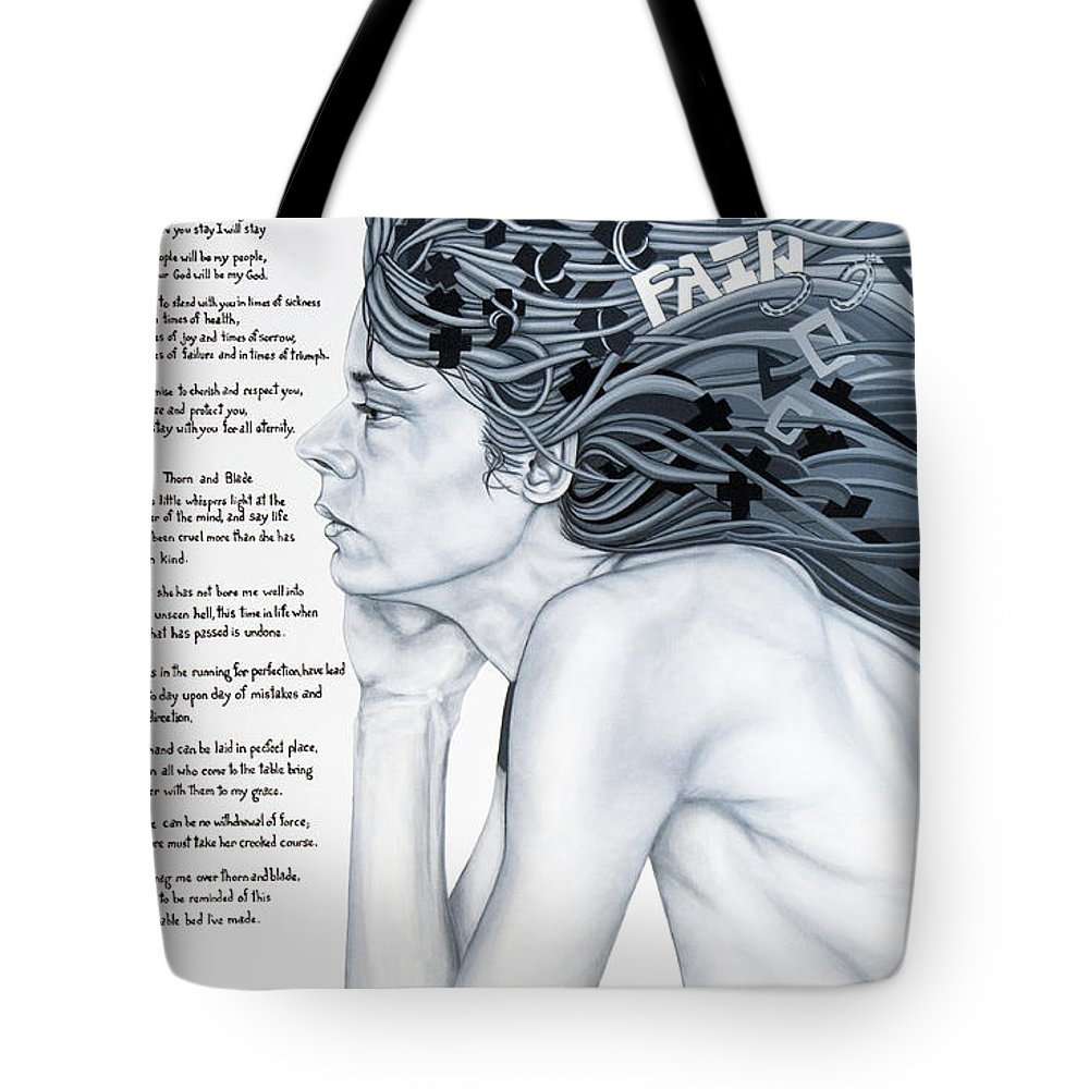 Poetry Tote Bag featuring the painting Anatomy Of Pain by Judy Henninger
