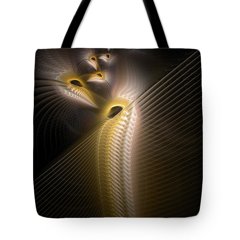 Abstract Tote Bag featuring the digital art Ancestral Avians by Casey Kotas