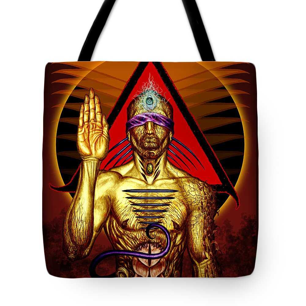 Tonykoehl Tote Bag featuring the mixed media Ancestral Intuition by Tony Koehl