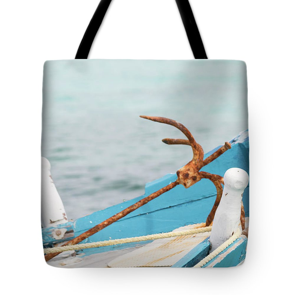 Tote Bag featuring the photograph Anchor On A Boat In Maldives by Alexandru Bardinici