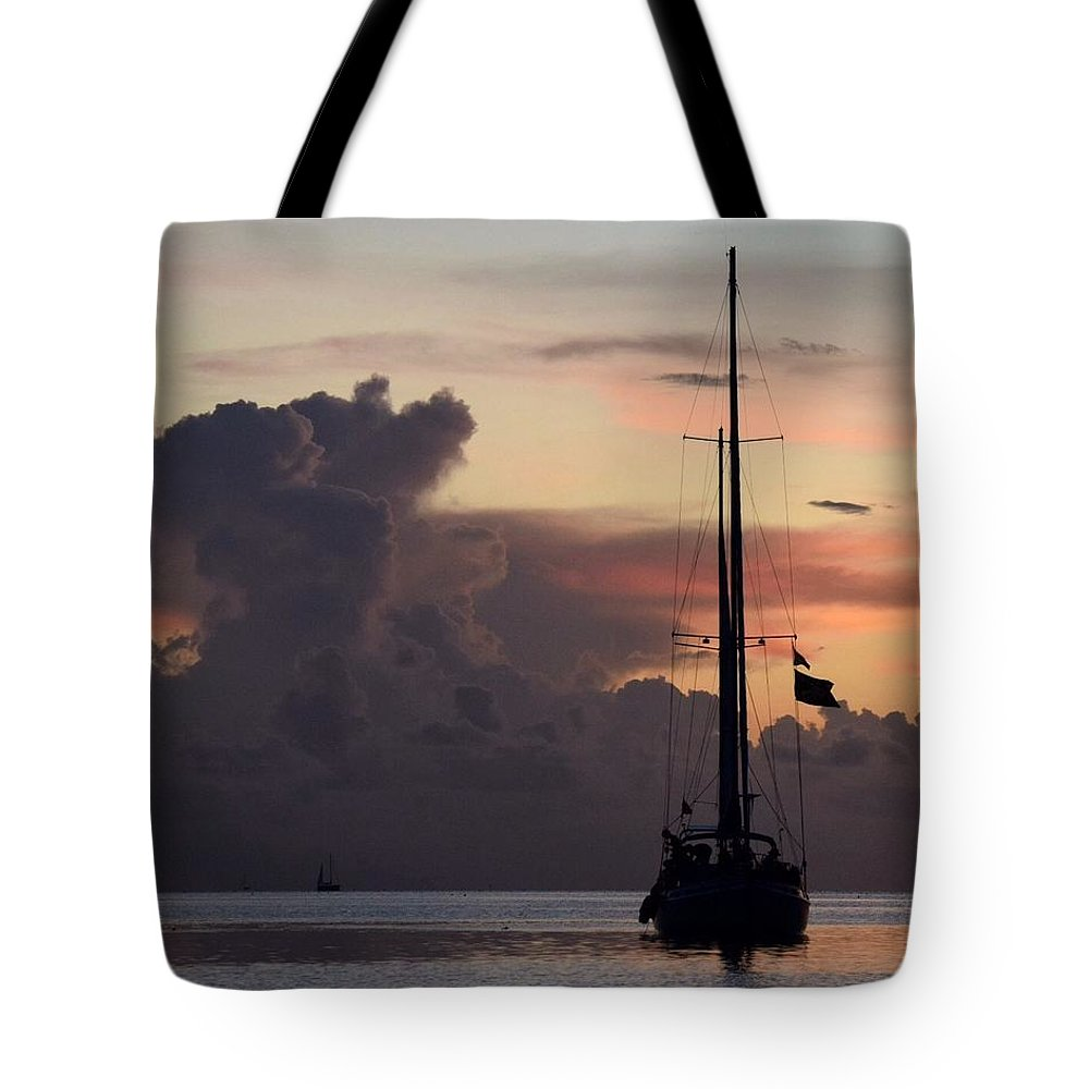 Sailboat Tote Bag featuring the photograph Anchored by Aileen Foust