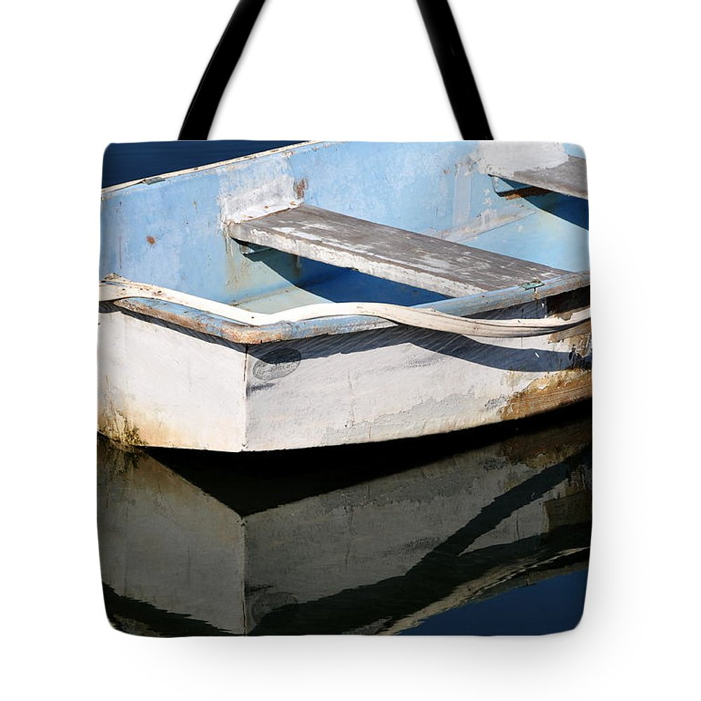 Boat Tote Bag featuring the photograph Anchored In The Harbor by Gregory Strong