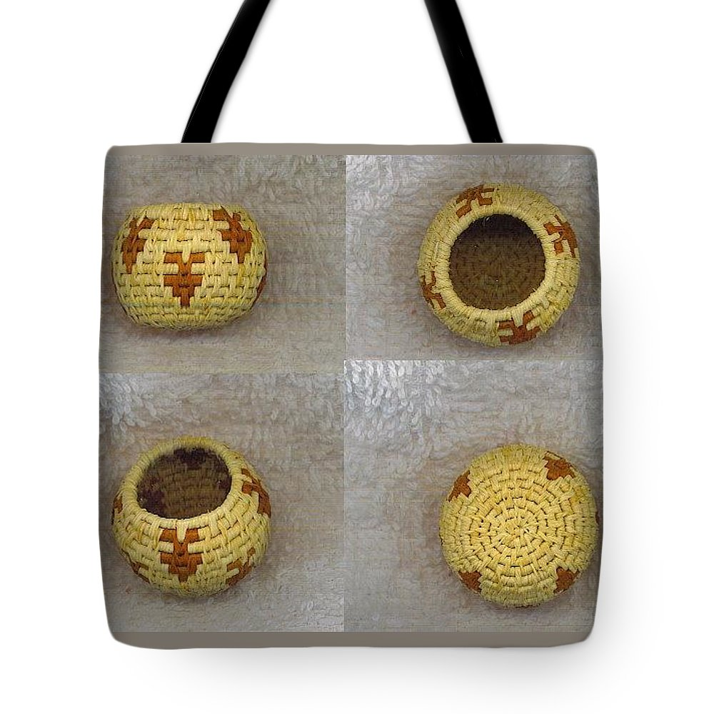 Basket Tote Bag featuring the mixed media Ancient Arrowheads Mini Bowl Basket by Darlene Ryer