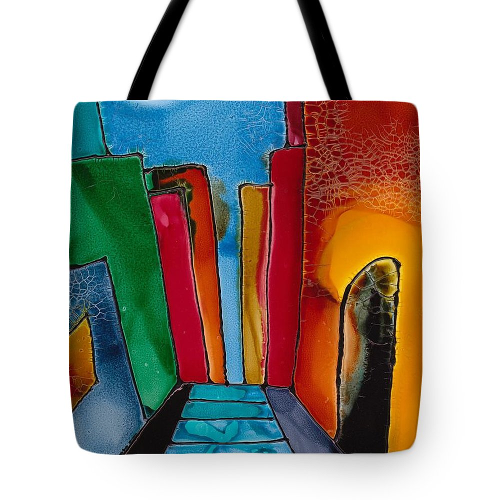 City Tote Bag featuring the mixed media Ancient City by Susan Kubes