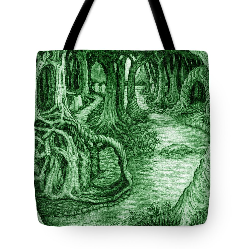 Mythology Tote Bag featuring the drawing Ancient Forest by Debra A Hitchcock