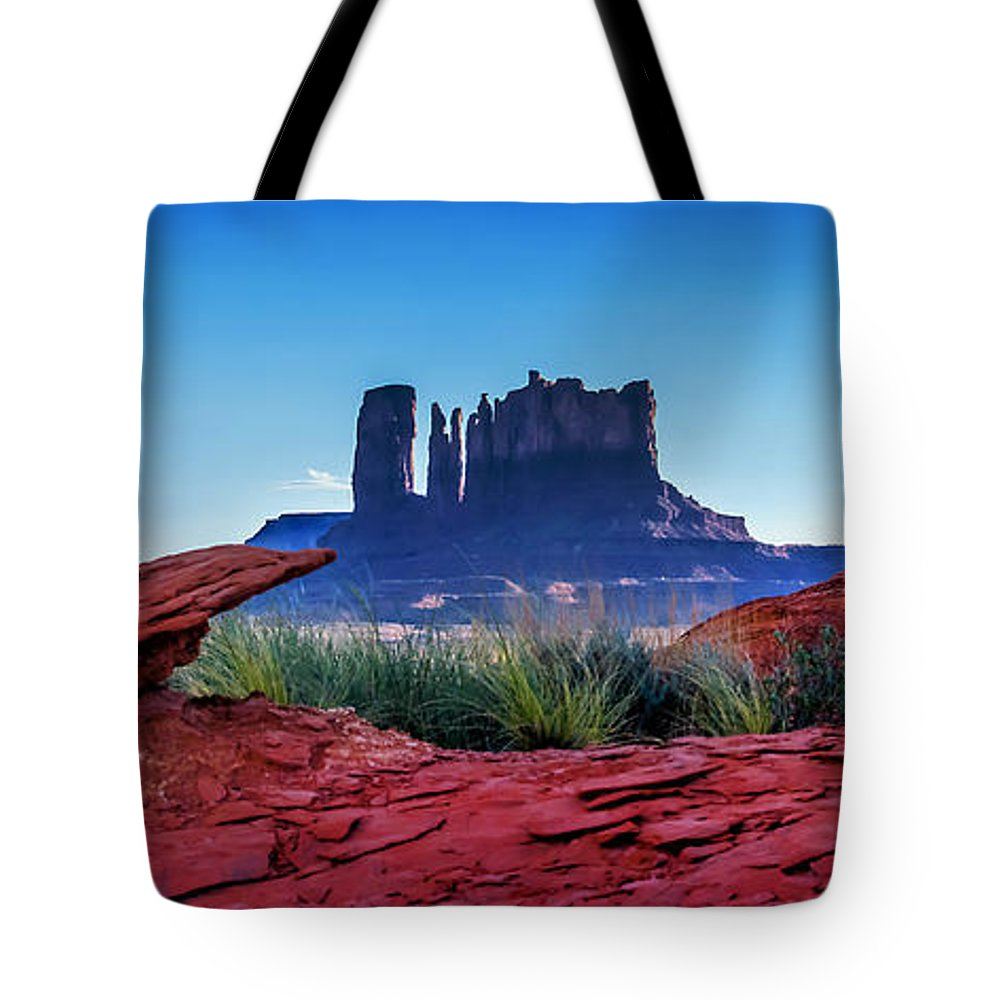 Monument Valley Tote Bag featuring the photograph Ancient Monoliths by Az Jackson
