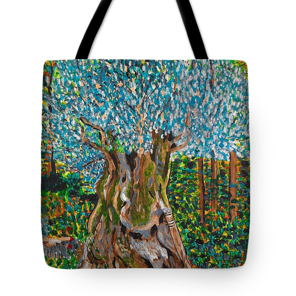 Olive Tote Bag featuring the painting Ancient Olive Tree by Valerie Ornstein