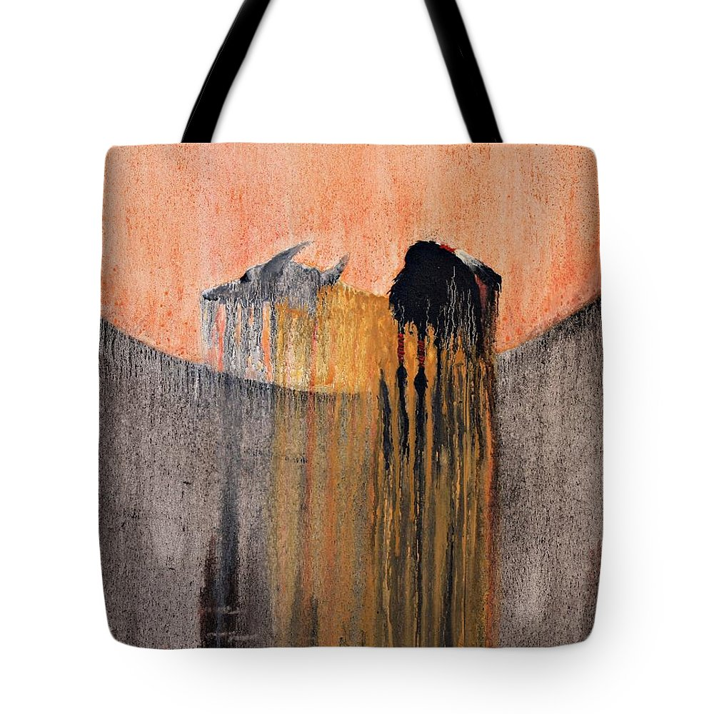 Art Tote Bag featuring the painting Ancient Paryer by Patrick Trotter