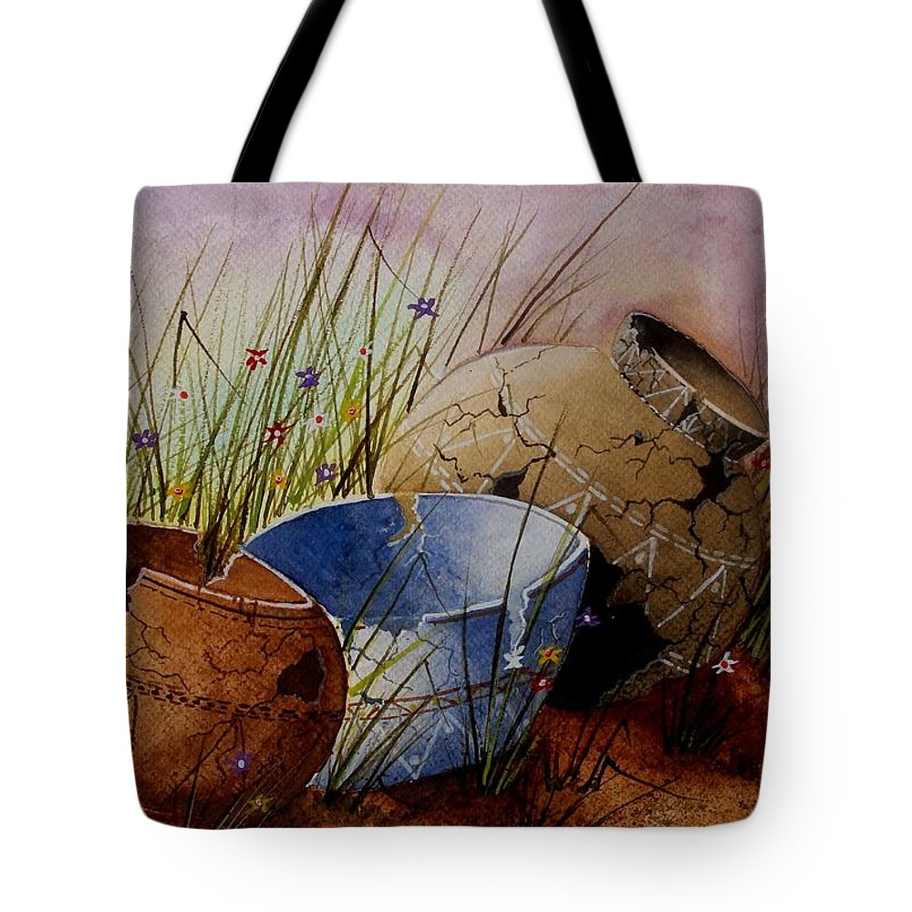 American Tote Bag featuring the painting Ancient Relics A Paint Along With Jerry Yarnell' Study. by Jimmy Smith