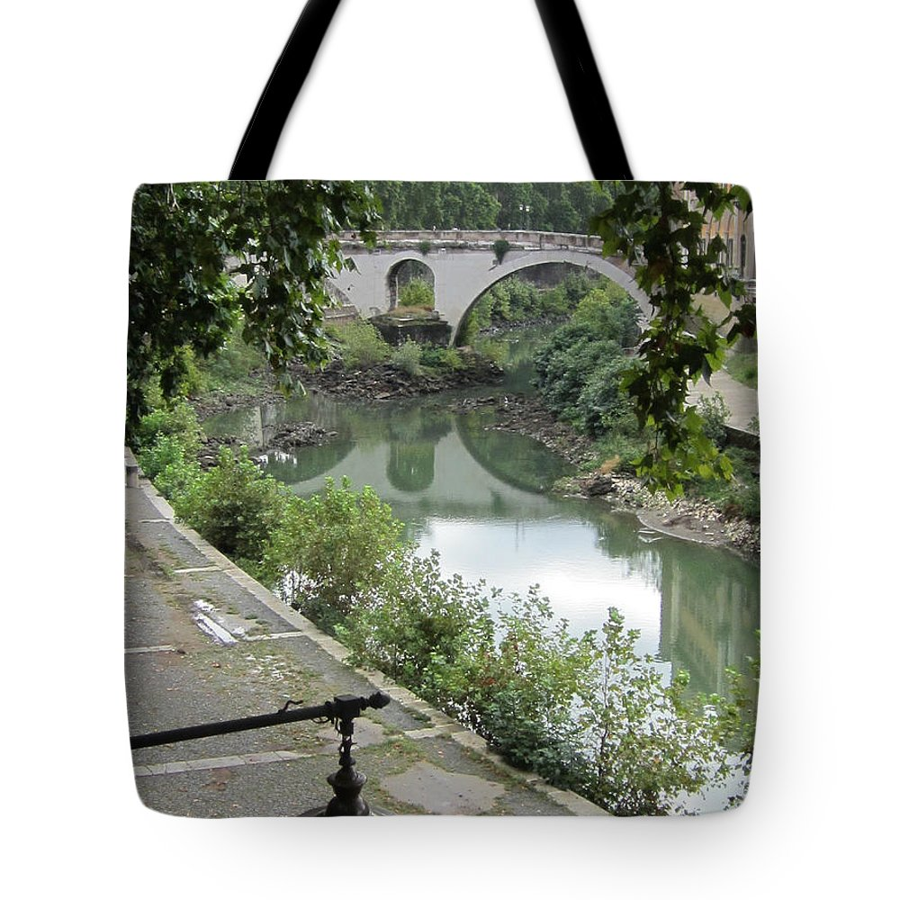 Rome Tote Bag featuring the painting Ancient Roman Foot Bridge by Joe Geare