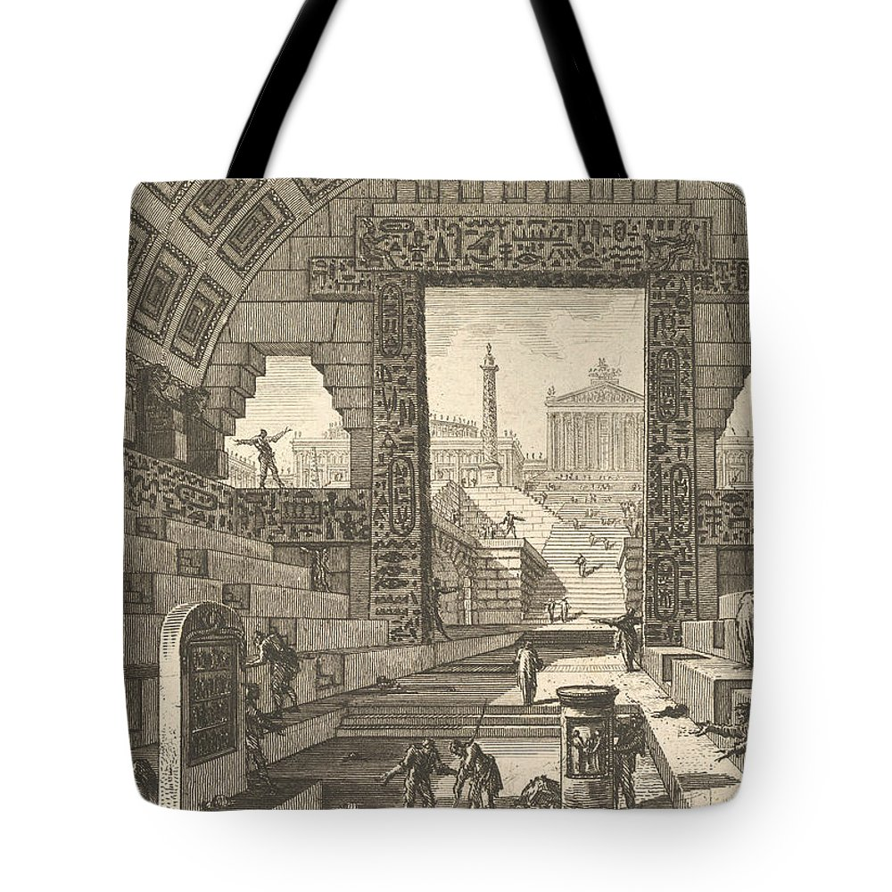 18th Century Art Tote Bag featuring the relief Ancient School Built According To The Egyptian And Greek Manners by Giovanni Battista Piranesi