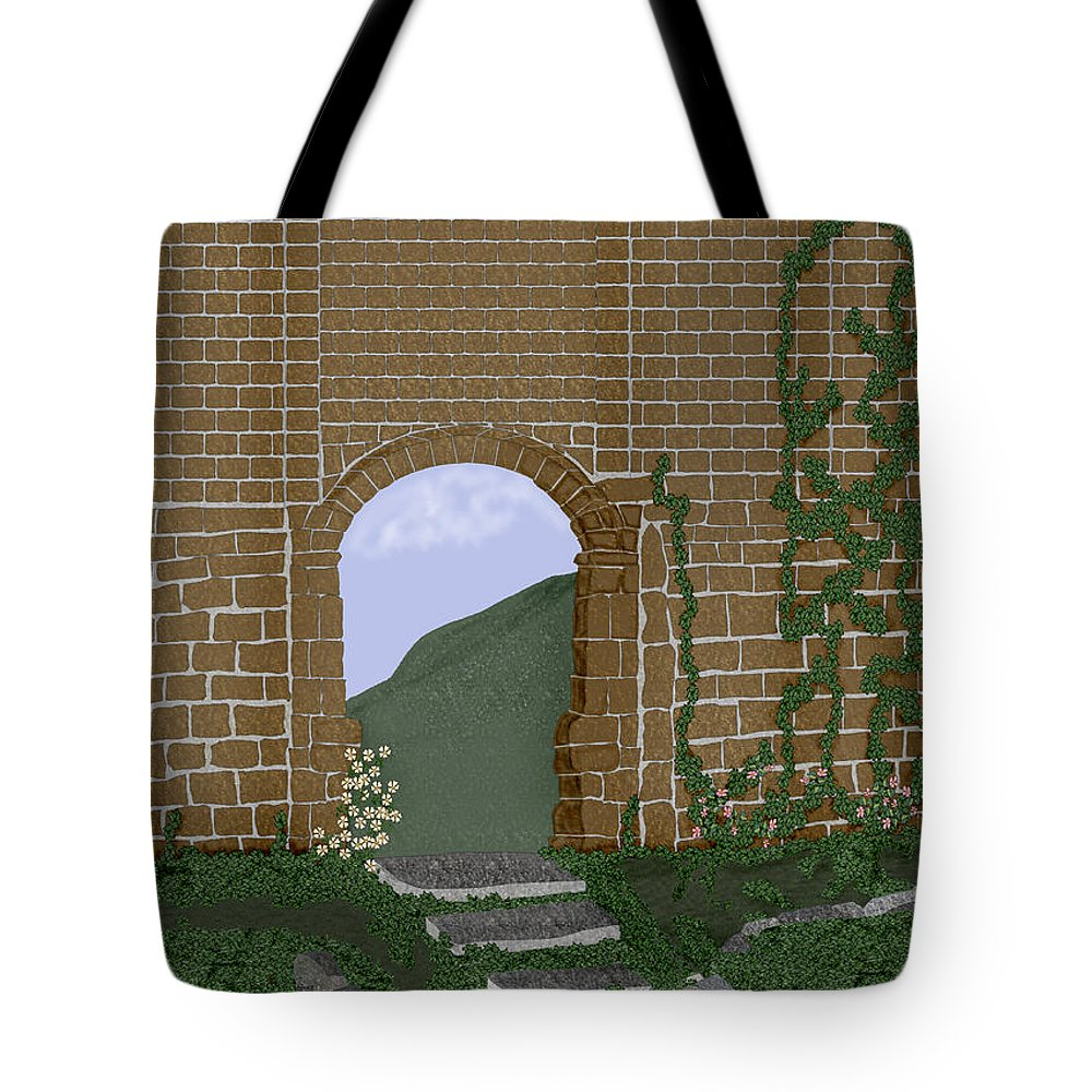 Irish Ruins Tote Bag featuring the painting Ancient Walls by Anne Norskog